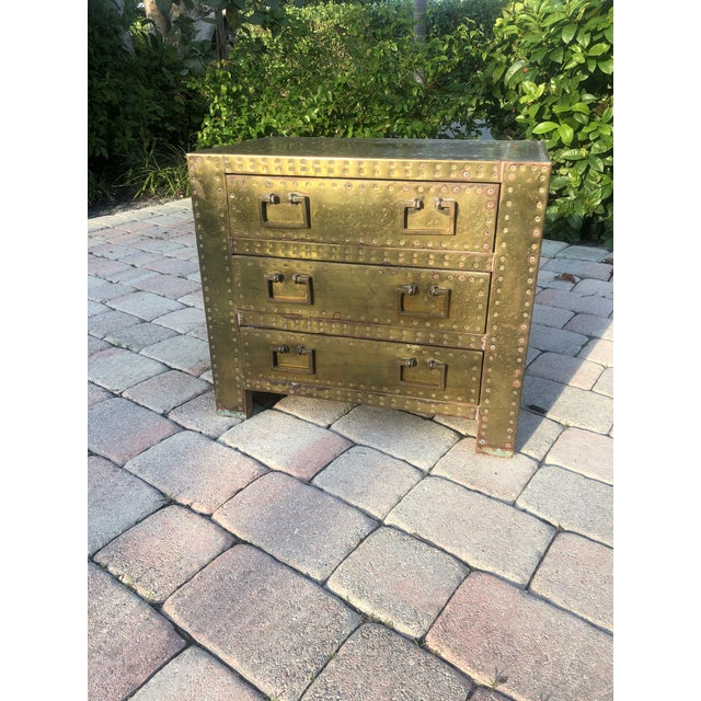 Brass Sarreid Brass Clad Three Drawer Chest of Drawers For Sale - Image 8 of 13