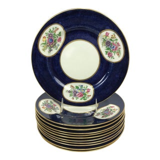 Crown Staffordshire Cobalt Blue Hand Painted Flowers Dining Plates - Set of 11