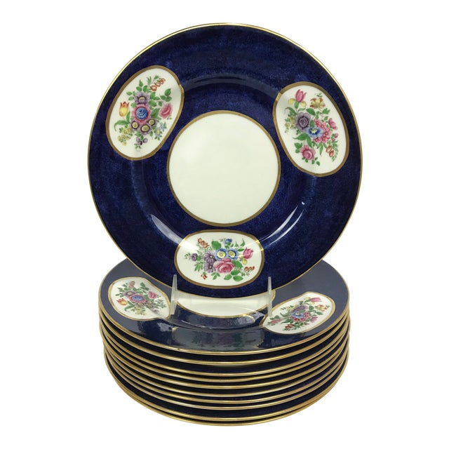 Crown Staffordshire Cobalt Blue Hand Painted Flowers Dining Plates - Set of 12 For Sale