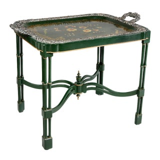 Victorian Papier Mache and Silver Plated Tray Table For Sale