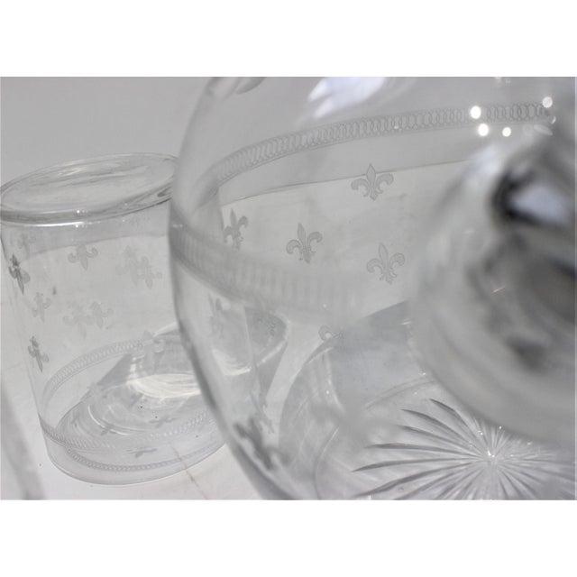Vintage Fleur De Lis Glass Pitcher and 4 Tumblers Iced Tea Lemonade - a Set For Sale - Image 11 of 13