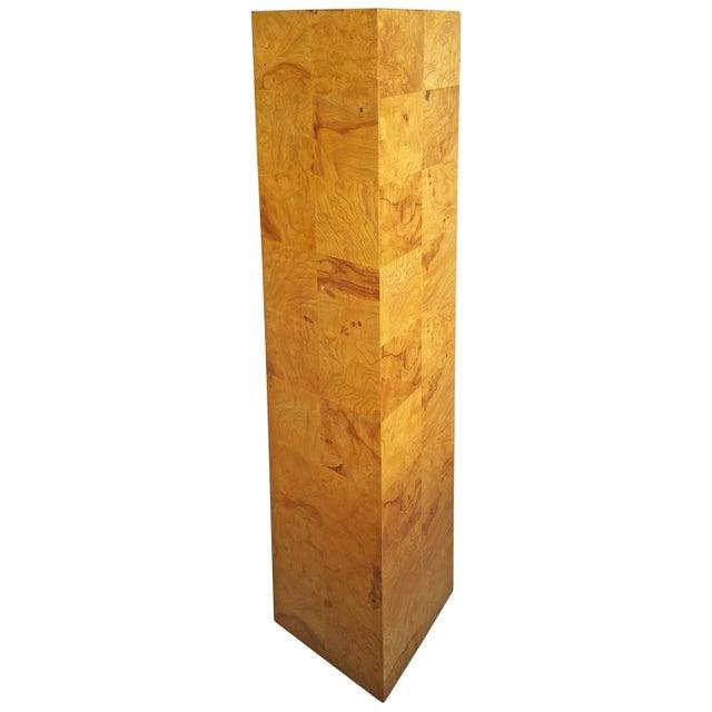 Modernist Burl Walnut Patchwork Pedestal by Milo Baughman For Sale In Buffalo - Image 6 of 6