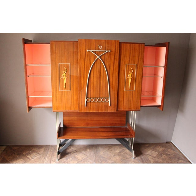 Pink Mid Century Italian Dry Bar Cabinet,Drinks Cabinet, Cocktail Bar For Sale - Image 8 of 13