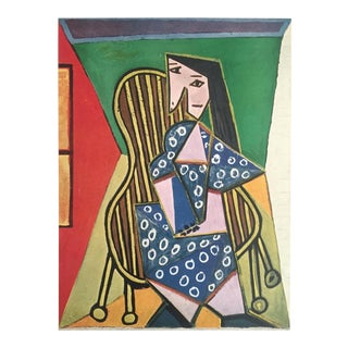 """Pablo PIcasso Rare Vintage 1943 Limited Edition Cubist French Lithograph Print """" Femme Assise """" 1941 For Sale"""