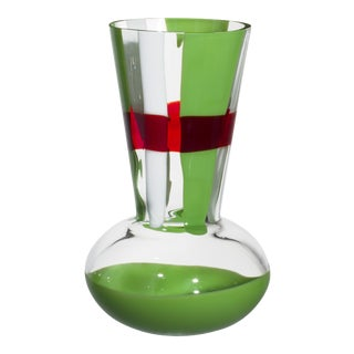 Carlo Moretti Troncosfera Vase in Red, Green and White For Sale