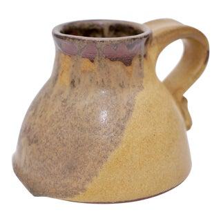 Vintage Folk Modern Glazed Pottery With Handle For Sale