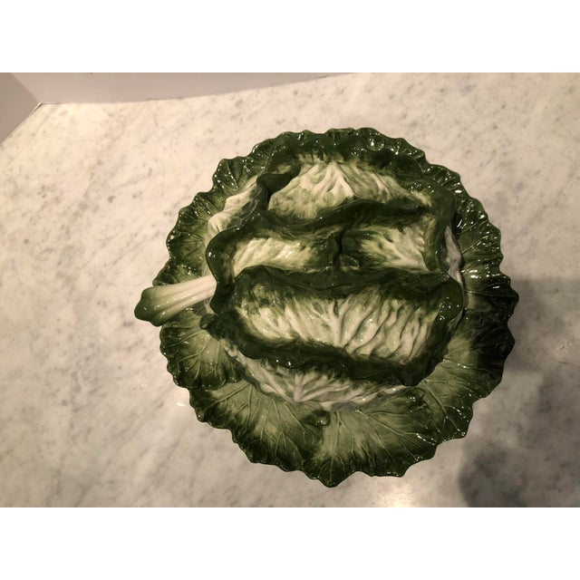 Great looking large soup tureen in lettuce leaf pattern. Beautiful detail in coloration of leaves. Made in Italy. Stamped...