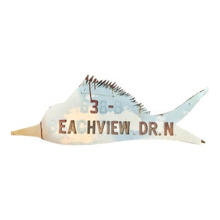 Mid-Century Swordfish Wood Sign For Sale