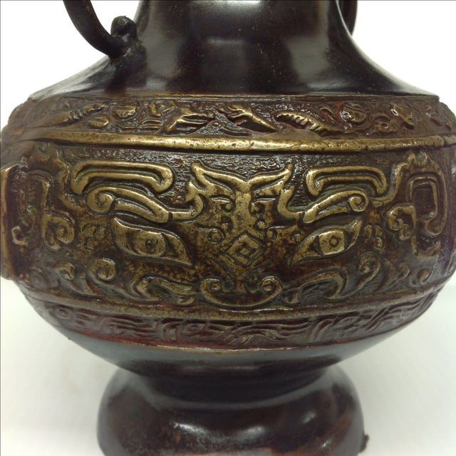 Bronze Chinese Cloisonné Vase For Sale - Image 4 of 8