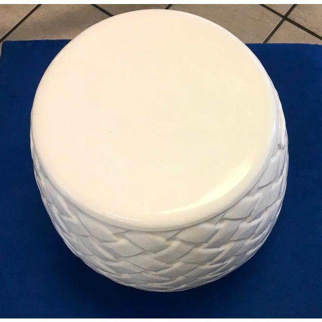 Wicker Design Ceramic Garden Seat For Sale - Image 4 of 8