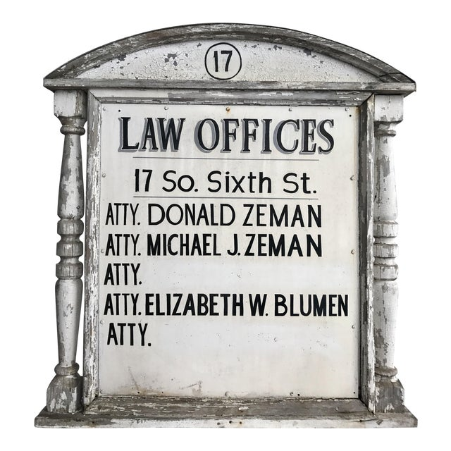 Sign - Vintage Distressed Law Offices Sign For Sale