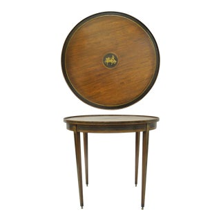 19th C. Neoclassical Brass Inlaid Mahogany Round Bouillotte Center Table For Sale