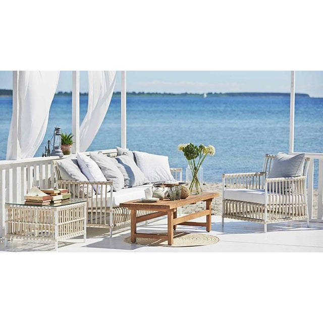 Not Yet Made - Made To Order Caroline Exterior 3-Seater Sofa - Dove White - Sunbrella Sailcloth Seagull Seat and Back Cushions For Sale - Image 5 of 7