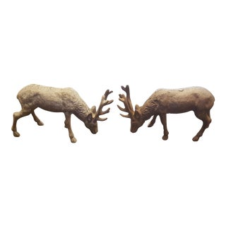 Cast Iron Elk Figurines - A Pair