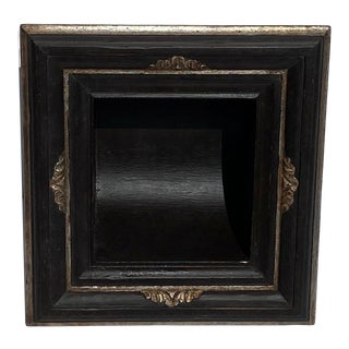 """Italian Baroque Style Bathroom Paper Holder in """"Tanuccio"""" Ebony & Silver Parcel-Gilt by Judson Rothschild for The Rothschild Collection For Sale"""