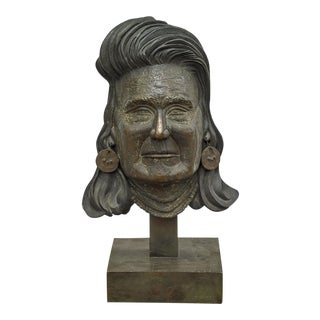 Large Bronze Sculpture Bust of a Native American Attributed to William Minschew
