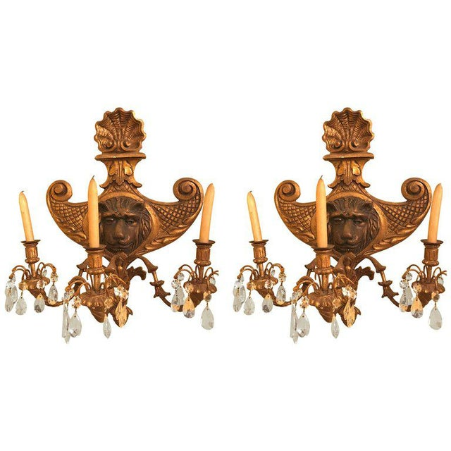 19th Century Carved Lion Head Shell Form Wooden Sconces - a Pair For Sale - Image 10 of 10