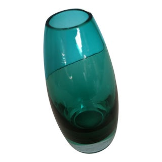 Vintage Scandinavian Turquoise Glass Vase by Tamara Aladdin for Riihimaen Lasi For Sale