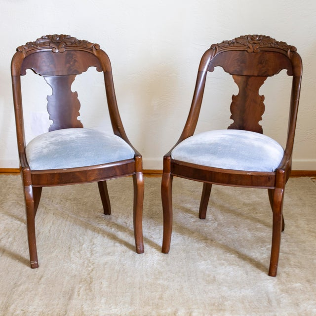 French Empire Gondola Chairs | 19th Century Francois Seignouret | a Pair For Sale - Image 6 of 13