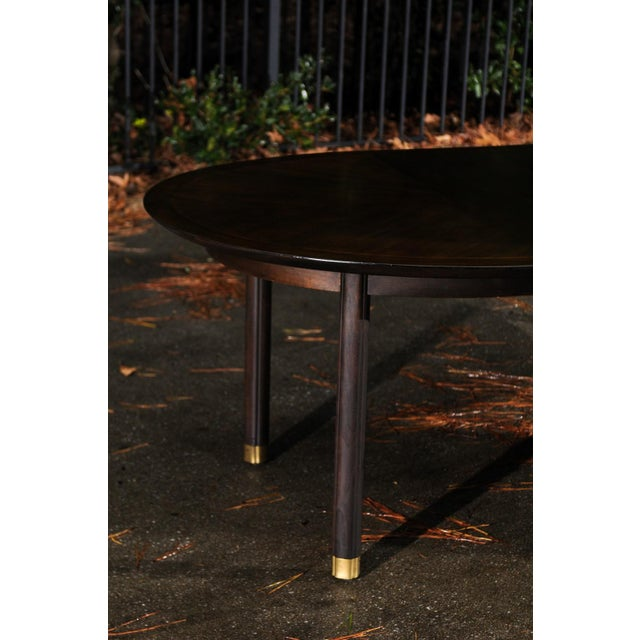 1950s Majestic Restored Elliptical Walnut Extension Dining Table by Baker, circa 1958 For Sale - Image 5 of 11