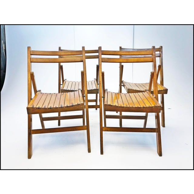 Vintage Rustic Slat Wood Folding Chairs - Set of 4 For Sale - Image 13 of 13