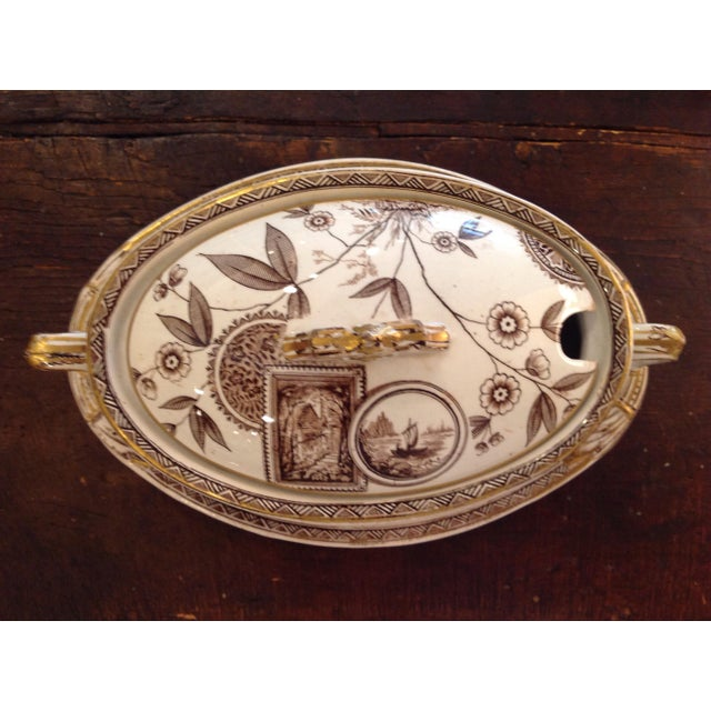 Ceramic English Aesthetic Movement Oval Casserole With Stand For Sale - Image 7 of 8
