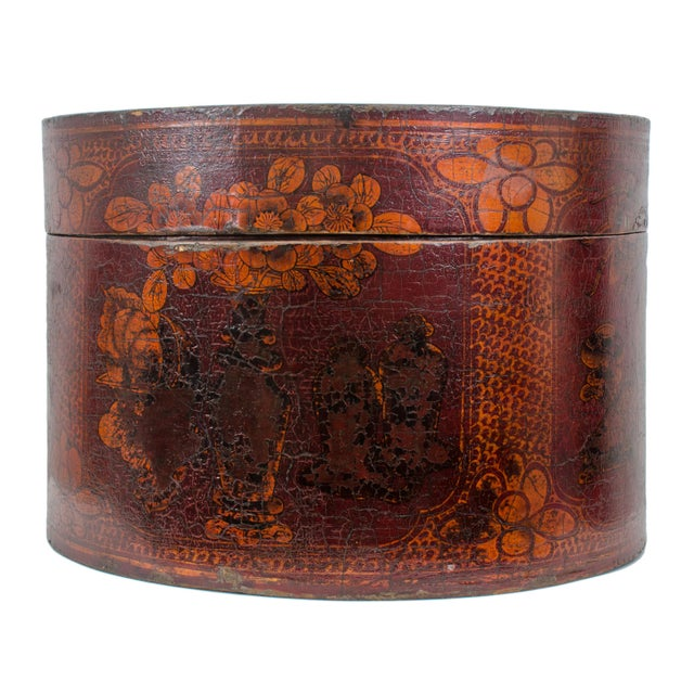 Qing Dynasty Red Lacquered Hat Box For Sale - Image 4 of 8