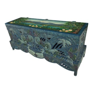Vintage Hand Painted Carved Chinoiserie Trunk For Sale