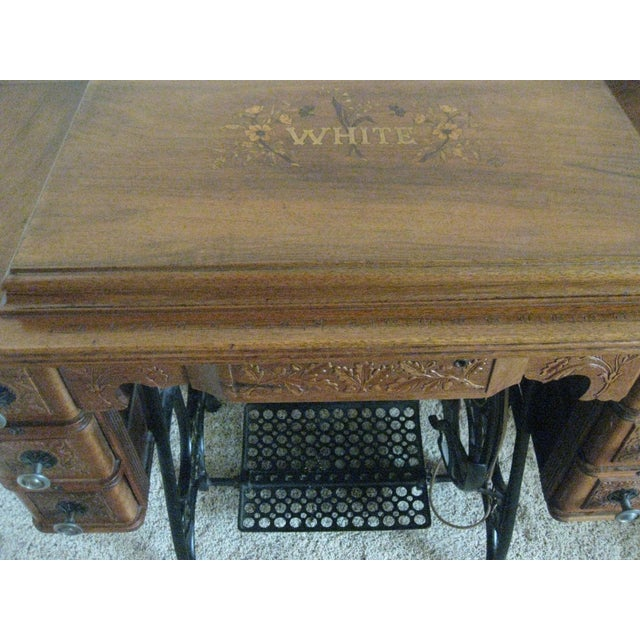 Brown Cabinet With Original Sewing Machine For Sale - Image 8 of 10