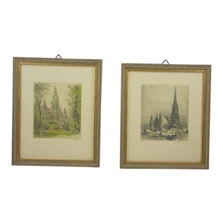 St. Stephens Cathedral and City Hall Vienna Engravings - a Pair For Sale