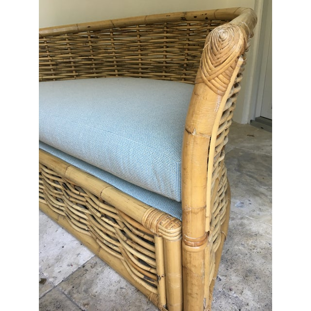 Vintage Rattan Lounger and Ottoman For Sale - Image 4 of 7
