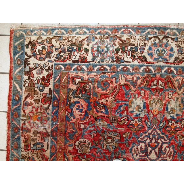 1900s, Handmade Antique Persian Mahal Distressed Rug 4.6' X 6.5' For Sale - Image 4 of 10