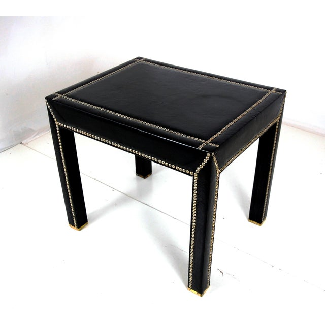 Mid Century Italian Leather Studded End Tables - a Pair - Image 3 of 10