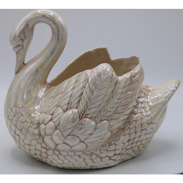 Blush Cream Lusterware Swan Cachepot Planter For Sale - Image 8 of 12