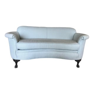 Light Blue French Settee For Sale