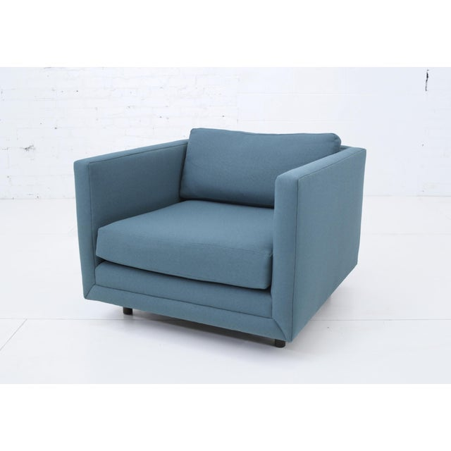Tuxedo Club chair by Harvey Probber. Reupholstered in teal fabric in the 90's, which is in good condition. Matching sofa...