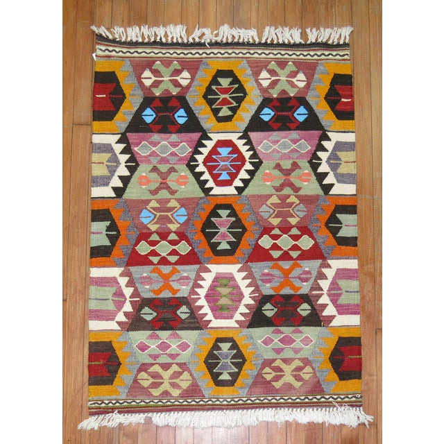 Mid 20th Century Vintage Turkish Kilim Wool Rug - 2'10'' X 3'9'' For Sale - Image 5 of 7