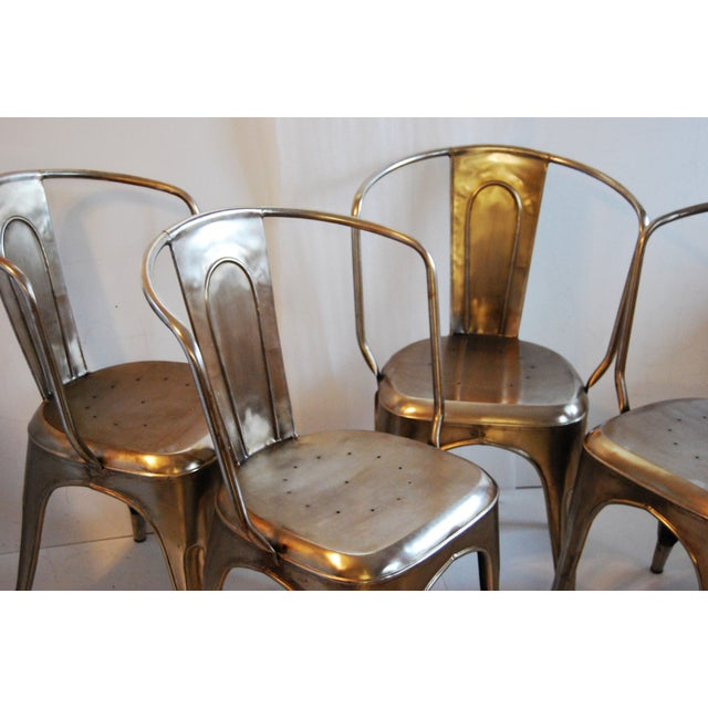 French Industrial Steel Side Chairs - Set of 4 - Image 4 of 7