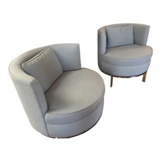 "Swaim ""Grace"" Swivel Chairs - A Pair For Sale"