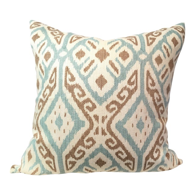 Taupe & Aqua Ikat Pillow - Image 1 of 4