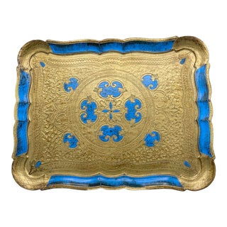 Italian Florentine Style Blue and Gold Tray For Sale