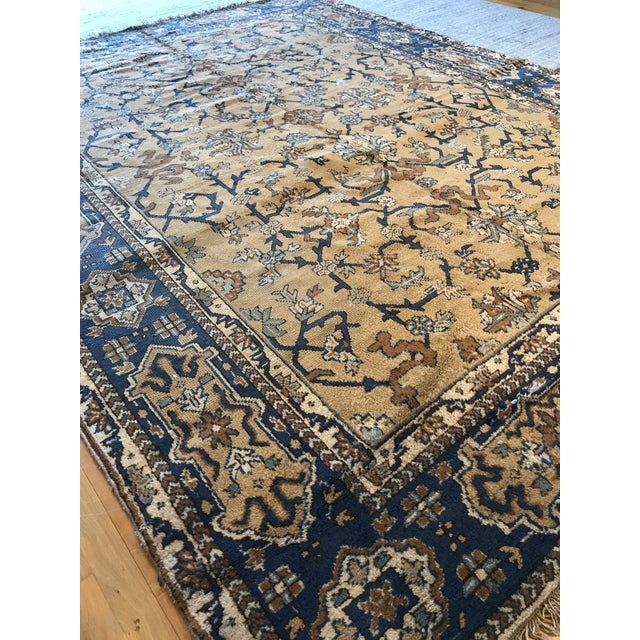 Antique Blue & Tan Turkish Rug - 8′10″ × 11′7″ For Sale - Image 4 of 12