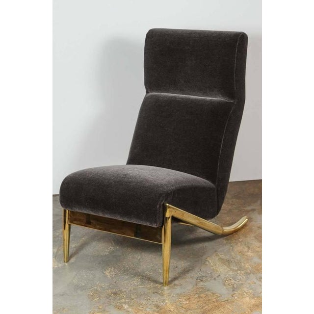 Paul Marra Slipper Chair in Brass with Mohair - Image 2 of 7