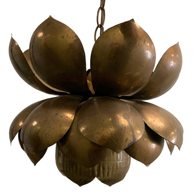 1970s Large Brass Lotus Pendant Light by Feldman For Sale - Image 9 of 9