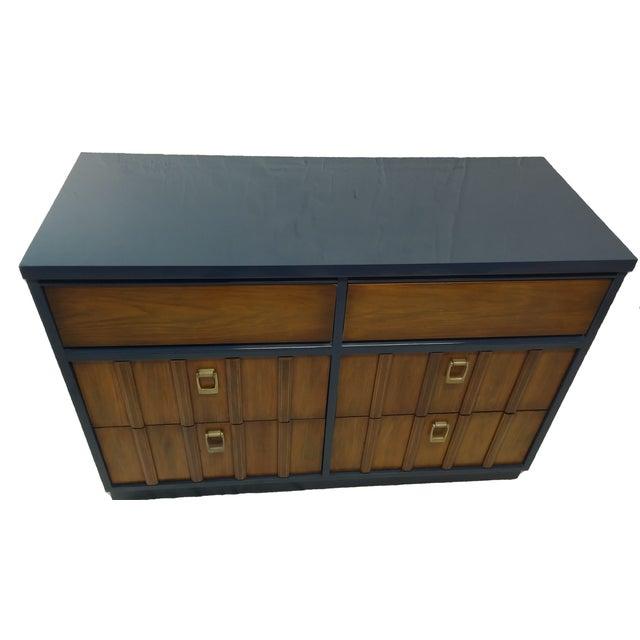 Mid-Century Mahogany & Blue Lacquered Dresser - Image 1 of 5