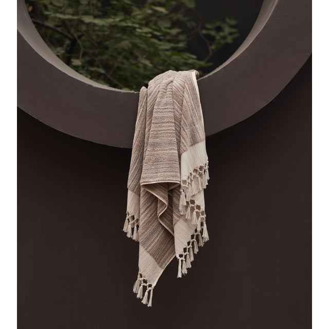 Earth Lines Handmade Organic Cotton Ultra King Bath Towel in Tan For Sale - Image 9 of 10