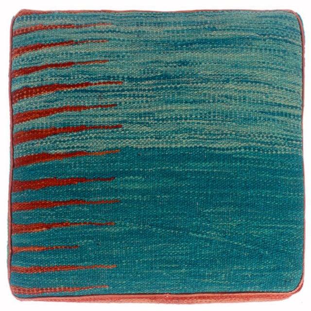2010s Arshs Dominica Blue/Rust Kilim Upholstered Handmade Ottoman For Sale - Image 5 of 8