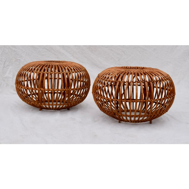 Brown Franco Albini Pouf Ottomans, Pair For Sale - Image 8 of 8