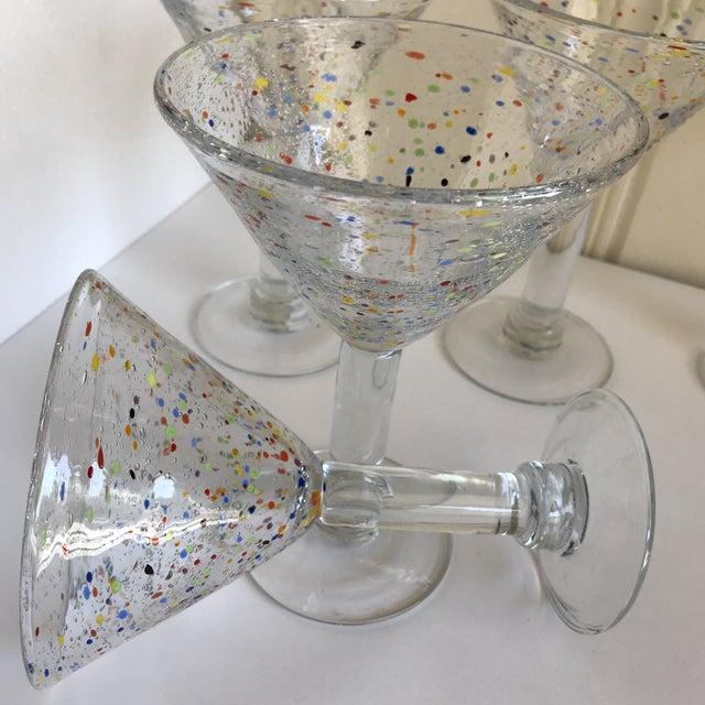 Large Artisan Confetti Martini Glasses- Set of 5 For Sale - Image 9 of 10