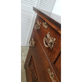 18th Century Early American Oak Sideboard Coffee Wine Bar With Mirror Preview